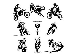 Extreme motorbike vector set