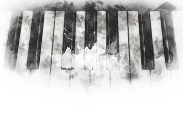 Abstract keyboard of the piano foreground Watercolor painting background and Digital illustration brush to art.
