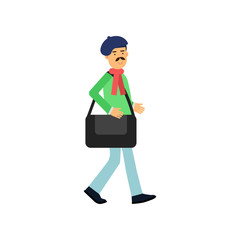 Flat profession artist walking with bag for paintings