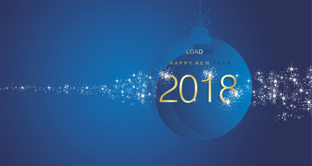 Happy New Year 2018 firework gold blue ball landscape background