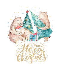 Wall Mural - Christmas watercolor bear. Cute kids xmas forest bears animal illustration, new year card or poster. Hand drawn nursery isolated baby animals painting.