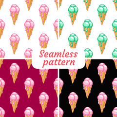 Set. Seamless patterns. Ice cream with different flavors. It melts.