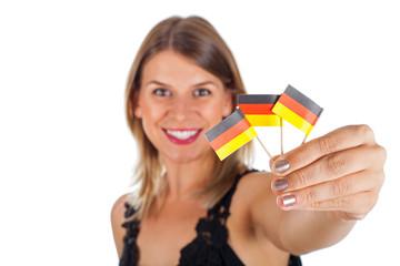 Woman holding german  flag