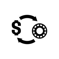 Casino chip and money icon illustration