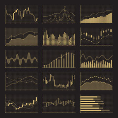 Business data financial charts. Stock analysis graphics on black background