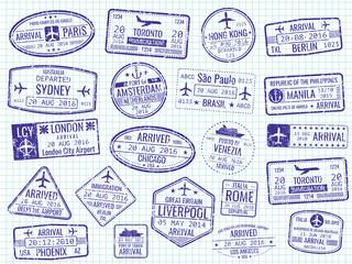 International visa stamps - arrival, departure, immigration passport stamps