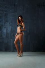 Photo of slender model in lingerie