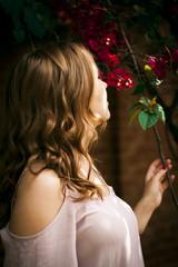beautiful girl dreams in the garden
