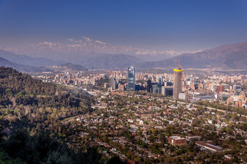 Aerial view of Santiago de Chile and the Andes mountain in the background