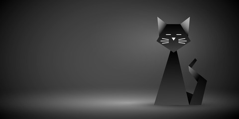 czarny kot origami wektor