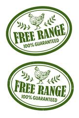 Free range chicken rubber stamp, Vector