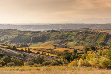 Hills landscape in the sunrise light, San Benedetto del Tronto, Marche regions, Italy