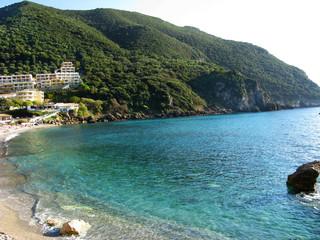 blue lagoon coast landscape ionian sea on Corfu island