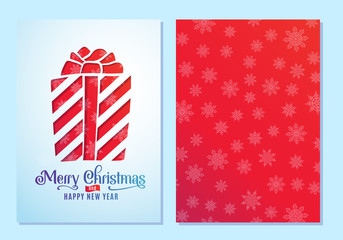 Design of a Christmas and New Year greeting card both sides with a gift. Vector illustration