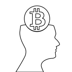 Black outline silhouette of human head with sign of bitcoin inside isolated on white background. Vector illustration, icon, clip art,  emblem.
