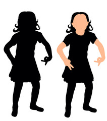 vector, isolated silhouette little girl dancing