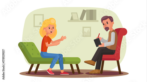 Classic Psychologist Vector Classic Psychotherapist And Woman