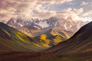 Aluminium Prints Mountains Beautiful mountain range sunrise in Ushguli, Svaneti, Georgia