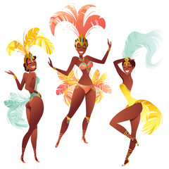 Set of Brazilian samba dancers. Vector carnival girls dancing.