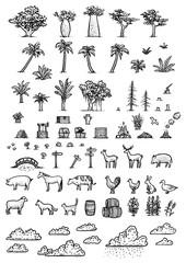 Map elements illustration, drawing, engraving, ink, line art, vector
