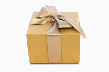 Gift box with golden ribbon, clipping path