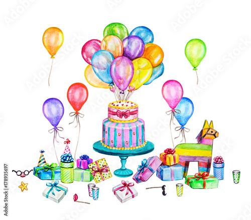Watercolor Happy Birthday Party Illustration Hand Drawn Celebration