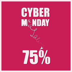 CYBER-MONDAY Sale. Banner, poster for a good deal. The background is red. Design for printing on fabric or paper