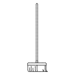 broom with wooden stick i in monochrome dotted silhouette