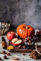 Pumpkin and Apple Pie Ingredients