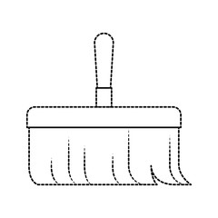hand broom with wooden stick i in monochrome dotted silhouette