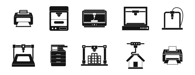 Printer icon set, simple style