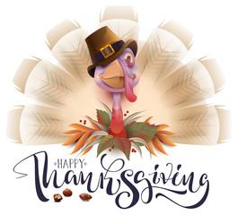 Live fun turkey bird Thanksgiving Day poster. Happy Thanksgiving text greeting card