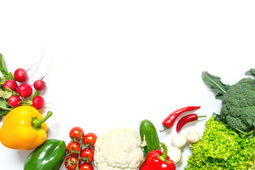 Fresh vegetables isolated on white background. Top view.