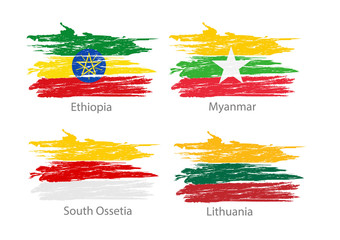 Set of smear painted flags of different countries