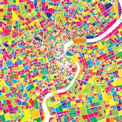 Shanghai, China, colorful vector map