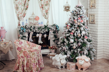 Christmas and New Year decorated interior room with presents and New year tree.shabby chic