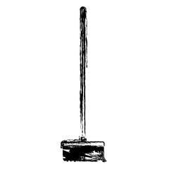 broom with wooden stick in monochrome blurred silhouette