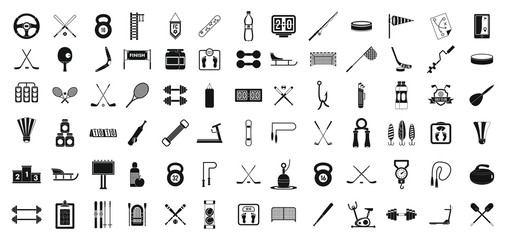 Sport equipment icon set, simple style