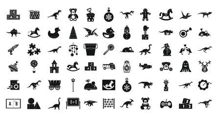 Toys icon set, simple style