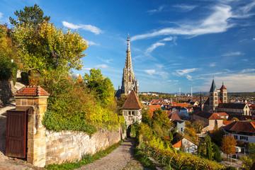 Esslingen Germany view of historic medieval town center from Neckarhalde