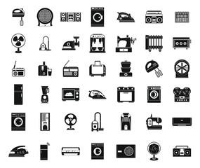 Appliances icon set, simple style
