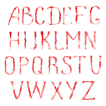 Red letters of latin alphabet