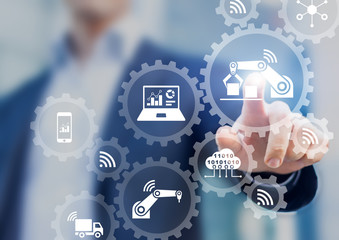 Smart factory and industry 4.0, robots, IoT, cloud computing technology