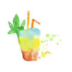 Tropical layered cocktail colorful hand drawn watercolor vector Illustration