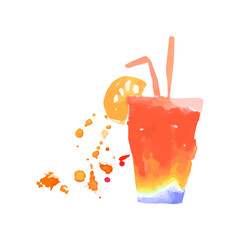 Colorful cocktail alcohol mixed drink or lemonade hand drawn watercolor vector Illustration