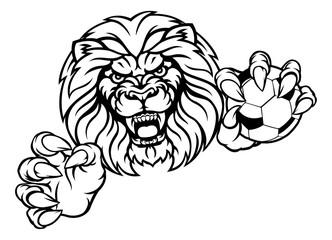Lion Soccer Ball Sports Mascot