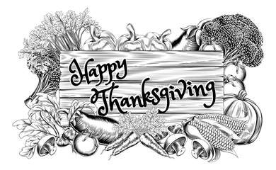 Happy Thanksgiving Vegetable Produce Sign