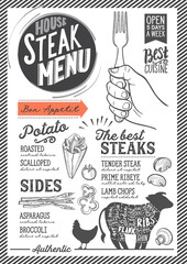 Steak menu restaurant, food template.
