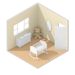 3d isometric rendering of brown child bedroom