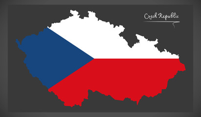 Czech Republic map with national flag illustration